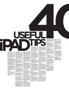 40 Useful iPad Tips Poster by Alex Gebhardt, via Behance