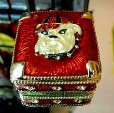 Crystal/Enamel Georgia Bulldog trinket box with Austrian lead crystals! $29.00