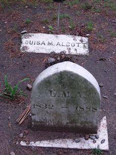 Louisa May Alcott (November 1832 – March Sleepy Hollow Cemetery, Concord, Massachusetts Cemetery Headstones, Old Cemeteries, Cemetery Art, Graveyards, Cemetery Statues, Angel Statues, Louisa May Alcott, Sleepy Hollow Cemetery, Portland