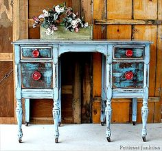 Distressed Dresser with Red Knobs ~ Makeover (Love the colors)