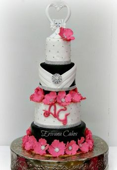 Pink, Black and White wedding cake - Wedding Stuff