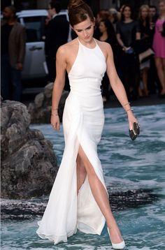 Emma Watson Sexy white evening dresses, legsplit white long prom dresses, prom dresses 2016, 2016 prom dresseds, backless prom dresses, dressywomen.com