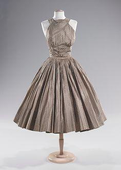 1951 Trina Norell Silk Cocktail Dress #dress #1950s #partydress #vintage #frock #retro #sundress #teadress #petticoat #romantic #feminine #fashion #plaid #gingham #checkered