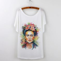 Hot 2016 Summer Brand Clothing Women T-Shirt White Tops Tee Shirt Frida Kahlo Print Tshirt Casual Loose T Shirt Femme Plus Size #Compare #Popular