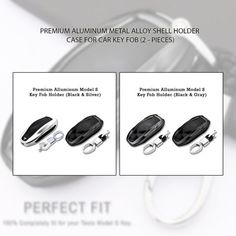 CoolKo Newest and Improved Premium Aluminum Metal Alloy Shell Holder Case for Tesla Model S Car Key Fob 1 Black /& 1 Silver