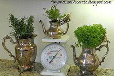 Gotta do this; Ive got herbs in much less attractive pots in my kitchen as I type.  My DIY Silver Kitchen Herb Garden :: Hometalk