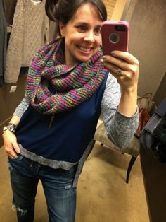 Love this cozy multi-colored scarf!