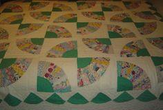 Vintage Grandmother's Fan Quilt with Scalloped Border Dresden Plate Variation | eBay