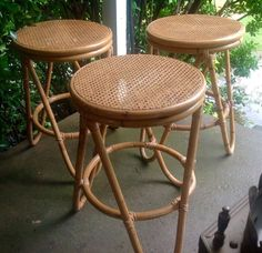 3 Vintage Thonet  rattan Bentwood Bar Counter Cane Seat bent wood stools chair #ThonetStyle #Unknown