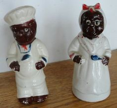 Vintage Black Americana Baker & Wife Salt and Pepper Shakers