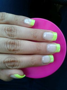 French nails neon yellow