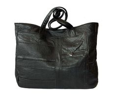 Upcycled leather tote bag, handmade from an outdated black leather jacket in New Orleans. Black Leather Tote Bag, Brown Leather Totes, Pebbled Leather, Leather Jacket, Army Tent, Tent Fabric, Leather Bags Handmade, Leather Projects, Patches