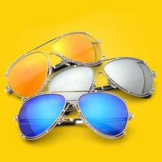 The UV400 Color Film Lens Aviator Sunglasses is a chic accessory to add ladies' charm and outer beauty.
