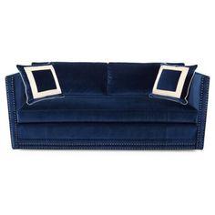 "Check out this item at One Kings Lane! Landry 84"" Nail-Head Sofa, Navy Velvet"
