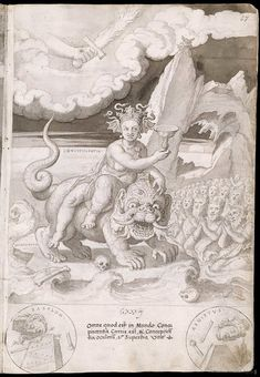 Over thirty years - from 1543 to 1573 - Holanda sketched and painted designs intended to portray the history of the world according to the bible Alchemy History, Satanic Art, Cryptozoology, Imagines, Ancient Aliens, Drawing Techniques, Religious Art, Mythical Creatures, Occult