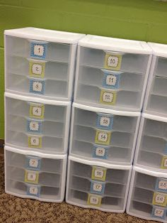 Each kid has a drawer for unfinished work, flashcards to practice, review and/or enrichment.