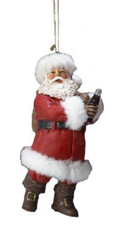 "Kurt Adler 4.5/"" Fabriche Coca-Cola Santa Ornament 2 Assorted"