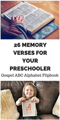 Bible verses to memorize with preschoolers.  These verses will lead your child through the gospel message while using the ABC's to help them memorize!  What a great summer activity for the family!  #bibleverses #kidsmemoryverses - www.mamaatplay.com