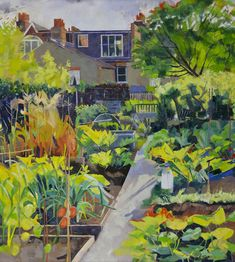 """Allotments by the River, Kew"" by Louis Turpin (oil on canvas) Garden Painting, Garden Art, Fields In Arts, Garden Illustration, National Portrait Gallery, Naive Art, Figure Painting, Landscape Art, Painting Inspiration"