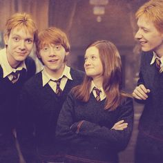 The Weasley family.  Either Fred or George on the left, Ron, Ginny, and either Fred or George on the right.  Haha, I can never tell them apart.
