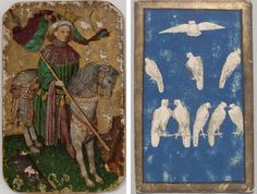 Left: The King of Falcons in The Stuttgart Playing Cards, ca. 1430. German, Upper Rhineland. Landesmuseum Württemberg, Stuttgart. Right: Workshop of Konrad Witz (active in Basel 1434–44). The 9 of Falcons in The Courtly Hunt Cards, ca. 1440–45. German, Upper Rhineland. Kunsthistorisches Museum Wien