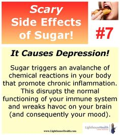 Scary Side Effect of Sugar #7! It causes depression! #LighthouseHealth www.LighthosueHealth.com #WeightLoss #ilovesugar #sugarcravings #scarysideeffects