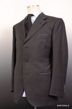 STILE LATINO Gray Striped Wool Super 120'S Suit NEW