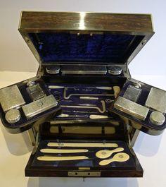 Antique English Coromandel Betjemman's Fitted Vanity / Travel Box - Sterling Silver - 1880