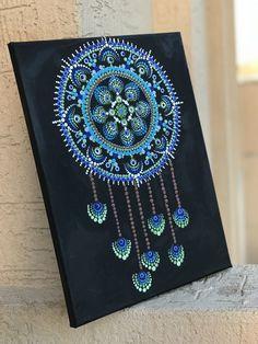 Mandala dreamcatcher boho home decor dot art painting, manda Dot Art Painting, Painting Patterns, Stone Painting, Mandalas Painting, Mandalas Drawing, Art Lotus, Dream Catcher Mandala, Design Mandala, Mandala Canvas