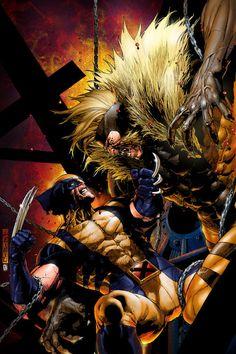 Wolverine vs Sabretooth by Leinil Yu