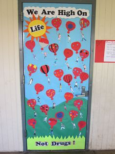 Red Ribbon Week Door, 6th grade. I was inspired by seeing bookmarks of students hanging from a balloon on Pinterest. I took that idea and created our Red Ribbon Door.