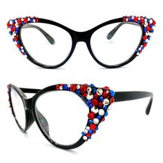 bf3b089e3c0 Crystal Cateye Reading Glasses  Red