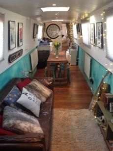 bohemian narrowboat houseboat interior design Beautiful Narrow boat and Houseboat Interior Design for inspiration and Some Clever Compact Living Solutions Barge Interior, Interior Exterior, Home Interior, Interior Design, Interior Sketch, Compact Living, Tiny Living, Living Spaces, Living Rooms