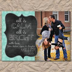 Christmas Card with Photo, All is Calm - Digital / Printable File