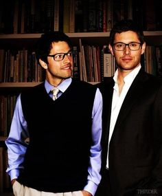 Misha Collins and Jensen Ackles - they look like a couple of college professors