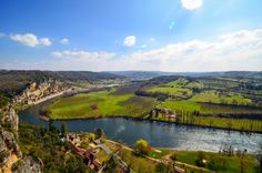 The beautiful view toward La Roque-Gageac from Les Jardins de Marqueyssac!  The Marqueyssac gardens are the perfect vantage point in the Dordogne Valley, France, as you can see Beynac-et-Cezenac, Castelnaud-la-Chapelle, La Roque-Gageac, and the gorgeous river valley from various points in the gardens!
