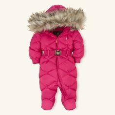 Faux fur trimmed, Down Filled Snowsuit