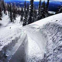 Backcountry trench #snowmobiling
