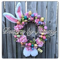 Easter Bunny Floral Wreath Happy Easter by SammysWreathBoutique
