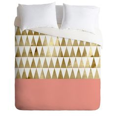 DENY Designs Georgiana Paraschiv Gold Triangles Lightweight Duvet Cover