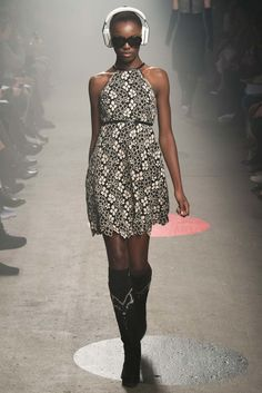 Tracy Reese | Fall 2015 Ready-to-Wear | 06 Monochrome floral halter mini dress