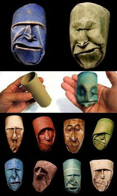 Art made from waste. Toilet paper roll faces.