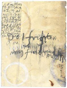 Alice Leach - graphite, paper, tea stain, text