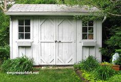 Light grey barnboard shed with windows | Gallery of Garden Sheds