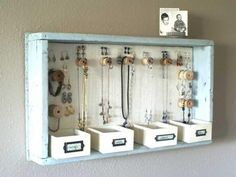 DIY Room Decor. this is cute. Take an old drawer  and hang it. Put in small boxes or those little sticky small hangers to hang jewelry