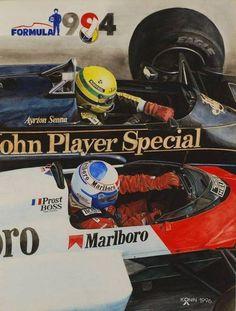 Ayrton Senna (Lotus) e Alain Prost (Mclaren)