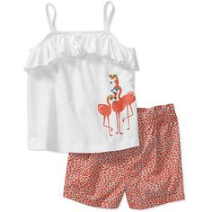 Child of Mine by Carters Baby Girls 2 Piece Flamingo Tank and Short Set: Baby Clothing : Walmart.com