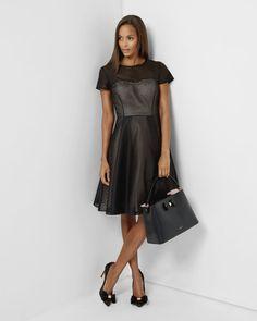 Woven stripe mesh dress - Black   Dresses   Ted Baker FR