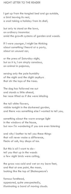Billy Collins, 'Nine Horses'   I read this poem every day when my Dad died.