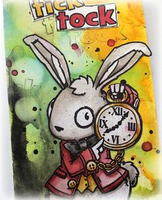 Susanne Rose - Papierkleckse: My first Project for Visible Image Stamps Image Stamp, Artist Trading Cards, Wizard Of Oz, Atc, Mixed Media Art, Alice In Wonderland, Rabbit, Stamps, Old Things